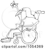 Royalty Free Vector Clip Art Illustration Of A Black And White Hippie In A Wheelchair Outline by djart
