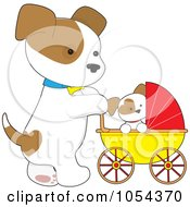 Mommy Dog Pushing A Puppy In A Stoller
