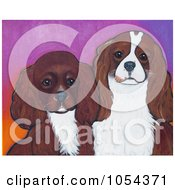 Painting Of Ruby And Blenheim Cavalier King Charles Spaniels