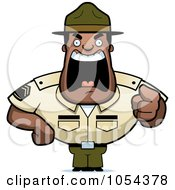 Royalty Free Vector Clip Art Illustration Of A Tough Black Drill Sargent Yelling by Cory Thoman