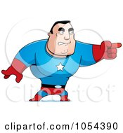 Royalty Free Vector Clip Art Illustration Of A Super Man Pointing