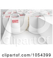 Royalty Free Clip Art Illustration Of A 3d Mannequin Following Exit Signs In A Maze by stockillustrations
