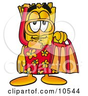Clipart Picture Of A Yellow Admission Ticket Mascot Cartoon Character In Orange And Red Snorkel Gear by Toons4Biz