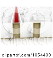 Royalty-Free Clip Art Illustration Of 3d Doors Opening To Easy And Difficult Paths Through A Maze