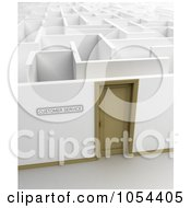 Royalty Free Clip Art Illustration Of A 3d Customer Service Door Leading Into A Maze by stockillustrations