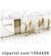 Royalty Free Clip Art Illustration Of A Line Of 3d Mannequins Waiting At A Door That Leads To A Maze by stockillustrations