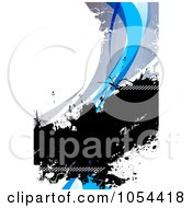 Royalty Free Clip Art Illustration Of A Grungy Blue White And Black Swoosh Background