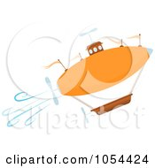 Royalty Free Vector Clip Art Illustration Of An Orange Airship Ascending by mheld