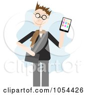 Royalty Free Vector Clip Art Illustration Of A Man Holding Up A Tablet