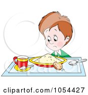 Royalty Free Vector Clip Art Illustration Of A Boy Glaring At His Breakfast by Alex Bannykh