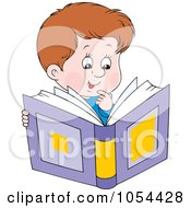 Royalty Free Vector Clip Art Illustration Of An Impressed Boy Reading A Book