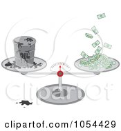 Royalty Free Vector Clip Art Illustration Of A Barrel Of Oil And Cash On A Scale by Alex Bannykh