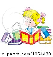 Royalty Free Vector Clip Art Illustration Of A Girl Reading Books by Alex Bannykh