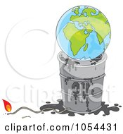 Royalty Free Vector Clip Art Illustration Of A Globe On Top Of A Barrel Of Oil With A Lit Fuse by Alex Bannykh