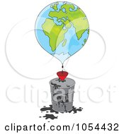Royalty Free Vector Clip Art Illustration Of A Globe Dripping Oil Into A Barrel