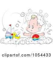 Royalty Free Vector Clip Art Illustration Of A Baby Boy Playing In A Bubble Bath by Alex Bannykh