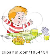 Royalty Free Vector Clip Art Illustration Of A Chubby Boy Ready For Breakfast by Alex Bannykh