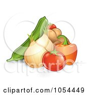 Royalty Free Vector Clip Art Illustration Of A Pile Of Veggies by TA Images