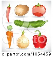 Royalty Free Vector Clip Art Illustration Of A Digital Collage Of Veggies With Shadows by TA Images