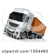 Royalty Free Clip Art Illustration Of A 3d Big Rig With A Container by KJ Pargeter