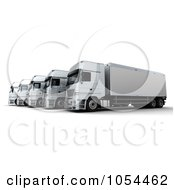 Royalty Free Clip Art Illustration Of A 3d Side View Of A Trucking Fleet