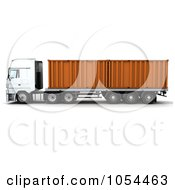 Royalty Free Clip Art Illustration Of A 3d Side View Of A Big Rig With Containers by KJ Pargeter
