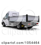 Royalty Free Clip Art Illustration Of A 3d Rear Side View Of A Flatbed Truck