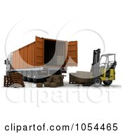 Royalty Free Clip Art Illustration Of A 3d Forklift Loading Boxes Into A Big Rig Container