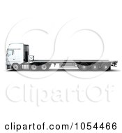 Royalty Free Clip Art Illustration Of A 3d Side View Of A Flatbed Truck
