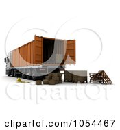 Royalty Free Clip Art Illustration Of 3d Boxes Behind A Big Rig Container
