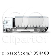 Royalty Free Clip Art Illustration Of A 3d Side View Of A Euro Truck