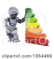 Royalty Free Clip Art Illustration Of A 3d Robot Standing By Energy Ratings
