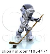 Royalty Free Clip Art Illustration Of A 3d Robot Playing Hockey