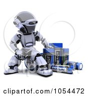 Royalty Free Clip Art Illustration Of A 3d Robot With Alkaline Batteries by KJ Pargeter