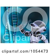 Royalty Free Clip Art Illustration Of A 3d Robot Examining DNA