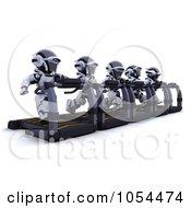 Royalty Free Clip Art Illustration Of 3d Robots Running On Treadmills