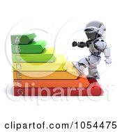 Royalty Free Clip Art Illustration Of A 3d Robot Climbing Energy Ratings by KJ Pargeter