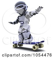 Royalty Free Clip Art Illustration Of A 3d Robot Skateboarding by KJ Pargeter
