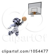 Royalty Free Clip Art Illustration Of A 3d Robot Making A Slam Dunk by KJ Pargeter
