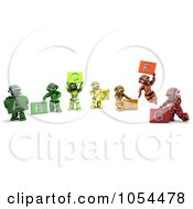 Royalty Free Clip Art Illustration Of 3d Robots Rating Energy