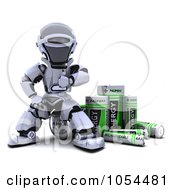 Royalty Free Clip Art Illustration Of A 3d Robot With Rechargeable Batteries