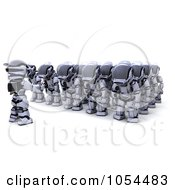 Royalty Free Clip Art Illustration Of A 3d Army Of Sleeping Robots by KJ Pargeter