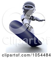 Royalty Free Clip Art Illustration Of A 3d Robot Snowboarding by KJ Pargeter