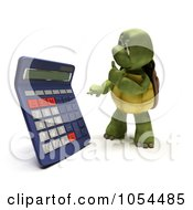 Royalty Free Clip Art Illustration Of A 3d Tortoise Using A Calculator by KJ Pargeter