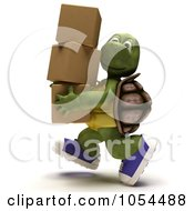Royalty Free Clip Art Illustration Of A 3d Tortoise Carrying Boxes