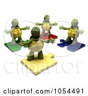 Royalty Free Clip Art Illustration Of 3d Tortoises On Puzzle Pieces