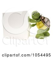 3d Tortoise Pushing A Blank Cube Sign
