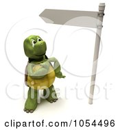Royalty Free Clip Art Illustration Of A 3d Tortoise By A Directional Sign