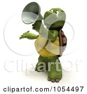Royalty Free Clip Art Illustration Of A 3d Tortoise Announcing