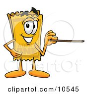 Clipart Picture Of A Yellow Admission Ticket Mascot Cartoon Character Holding A Pointer Stick